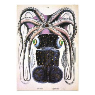 Vintage Marine Life Animal Giant Octopus or Squid Custom Invites