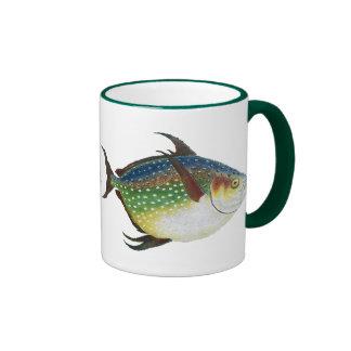 Vintage Marine Life Animal, Tropical Opah Fish Ringer Coffee Mug