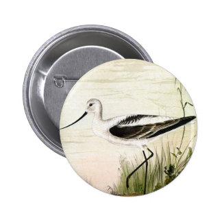 Vintage Marine Life Bird, Avocet, Shorebirds 6 Cm Round Badge