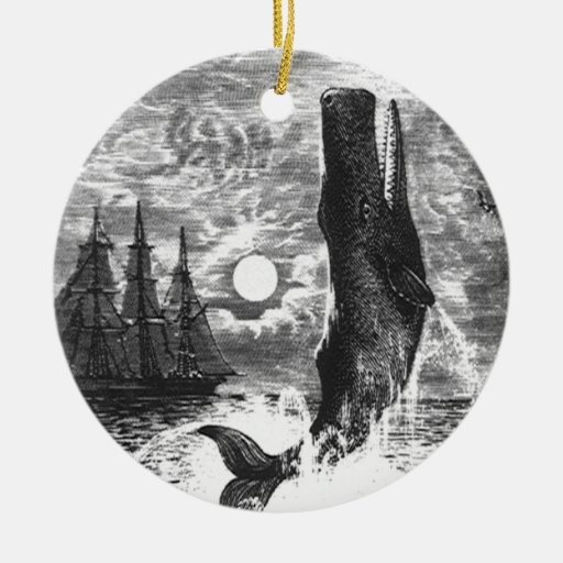 Vintage Marine Life Mammal, Sperm Whale Breaching Christmas Tree Ornaments