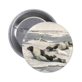 Vintage Marine Life Mammals Harp Seals Snow Arctic Pins