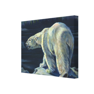 Vintage Marine Mammal, Polar Bear, Iceberg Arctic Gallery Wrap Canvas