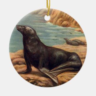 Vintage Marine Mammal Sea Lion by the Seashore Round Ceramic Decoration