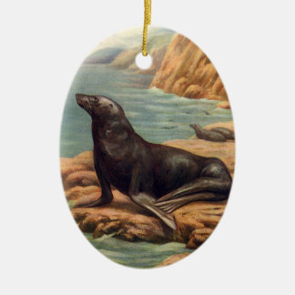 Vintage Marine Mammal Sea Lion by the Seashore Double-Sided Oval Ceramic Christmas Ornament