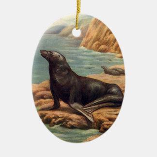 Vintage Marine Mammals, Sea Lion by the Seashore Christmas Ornament