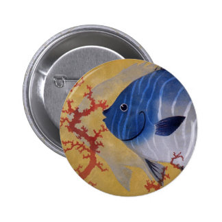 Vintage Marine Ocean Life Tropical Blue Fish Coral Pin