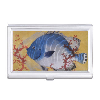 Vintage Marine Ocean Life Tropical Blue Fish Coral Business Card Cases