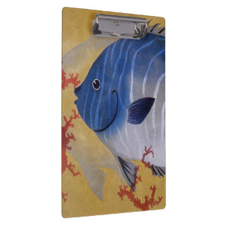 Vintage Marine Ocean Life Tropical Blue Fish Coral Clipboards