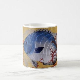 Vintage Marine Ocean Life Tropical Blue Fish Coral Coffee Mug