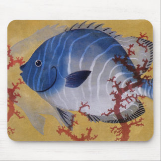 Vintage Marine Ocean Life Tropical Blue Fish Coral Mouse Pad
