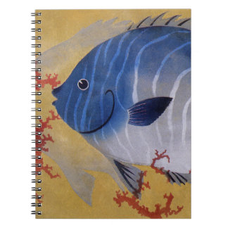 Vintage Marine Ocean Life Tropical Blue Fish Coral Spiral Note Books