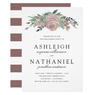 Vintage Maroon Rose & Stripes | Engagement Party Card