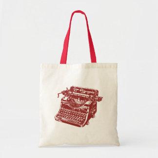 Vintage Maroon Typewriter Budget Tote Bag