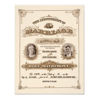 Vintage Marriage Certificate Illustration Wedding 4.25x5.5 Paper Invitation Card