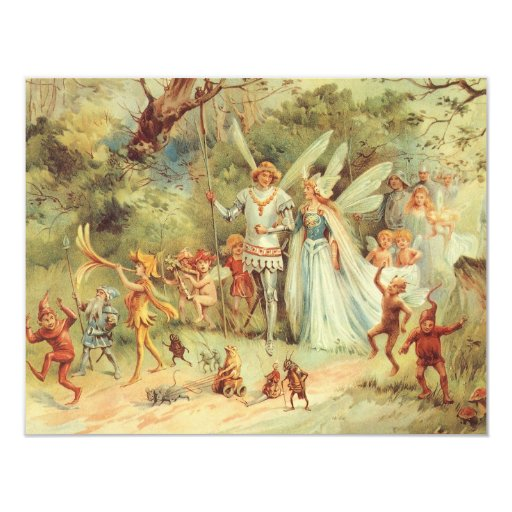 Vintage Marriage of Thumbelina and Prince 11 Cm X 14 Cm Invitation Card