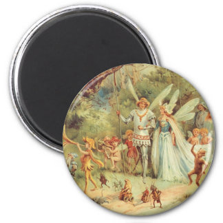 Vintage Marriage of Thumbelina and Prince 6 Cm Round Magnet