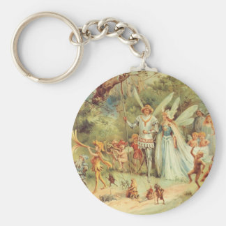 Vintage Marriage of Thumbelina and Prince Basic Round Button Key Ring