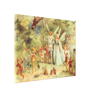 Vintage Marriage of Thumbelina and Prince Canvas Print
