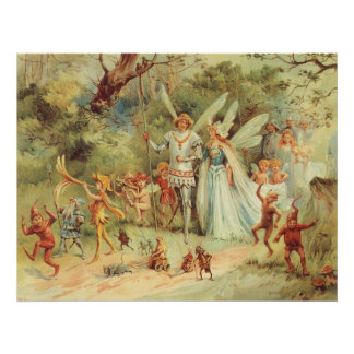 Vintage Marriage of Thumbelina and Prince Poster