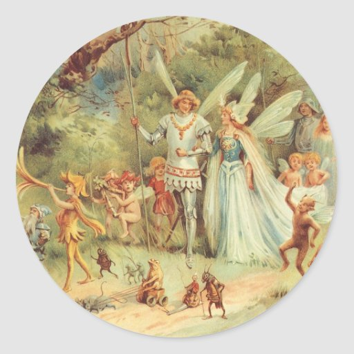 Vintage Marriage of Thumbelina and Prince Round Sticker