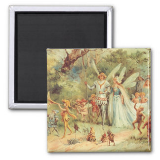 Vintage Marriage of Thumbelina and Prince Square Magnet