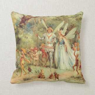 Vintage Marriage of Thumbelina and Prince Throw Pillow