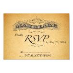Vintage Marriage Paper Wedding Invitation RSVP