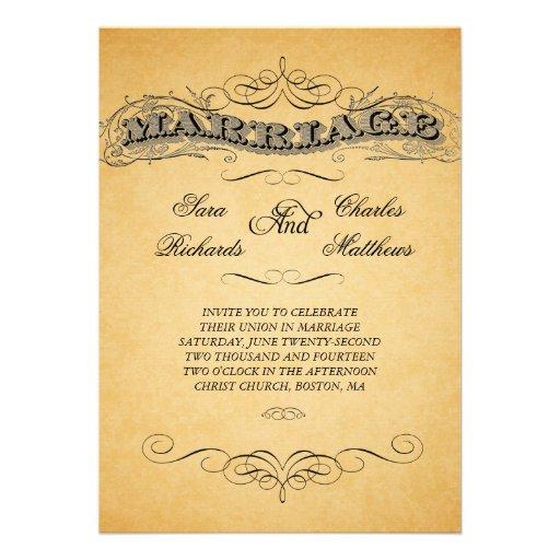 Vintage Marriage Text Wedding Invitations 13 Cm X 18 Cm Invitation Card Zazzle