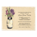 Vintage Mason Jar and Wildflowers Bridal Shower Personalized Announcements