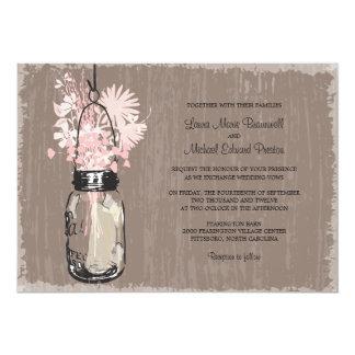 Vintage Mason Jar and Wildflowers Wedding 13 Cm X 18 Cm Invitation Card