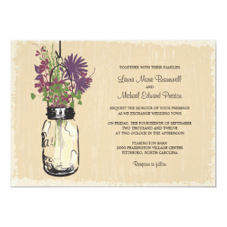 Vintage Mason Jar and Wildflowers Wedding Card