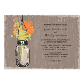 Vintage Mason Jar and Wildflowers Wedding Personalized Invitations