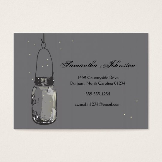 Vintage Mason Jar & Fireflies Save the Date Business Card