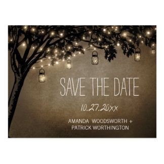 Vintage Mason Jar Oak Tree Save The Date Cards