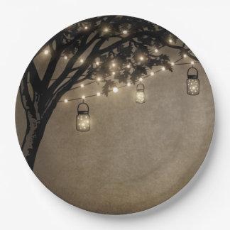 Vintage Mason Jar Oak Tree Wedding Plates