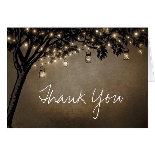 Vintage Mason Jar Oak Tree Wedding Thank You