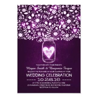 """vintage mason jar purple flowers wedding invites 5"""" x 7"""" invitation card"""