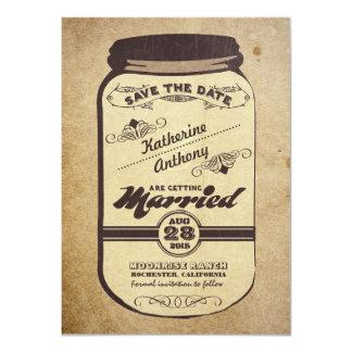 vintage mason jar rustic save the date 11 cm x 16 cm invitation card