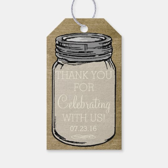 Vintage Mason Jar Tags | Rustic Country Wedding