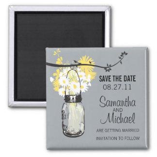 Vintage Mason Jar & Wild Flowers Save the Date Square Magnet
