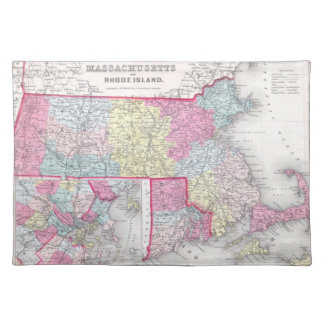 Vintage Massachusetts and Rhode Island Map (1855) Placemat