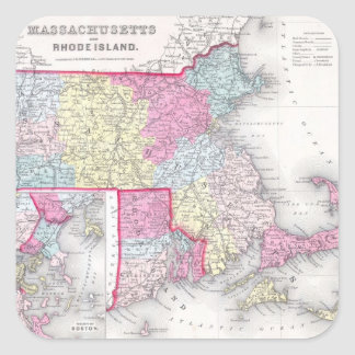 Vintage Massachusetts and Rhode Island Map (1855) Square Sticker