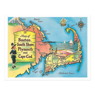 Vintage Massachusetts Cities Map Postcard