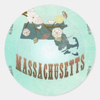 Vintage Massachusetts State Map – Turquoise Blue Round Sticker