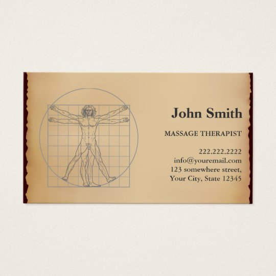 Vintage Massage Therapist Appointment Business Card