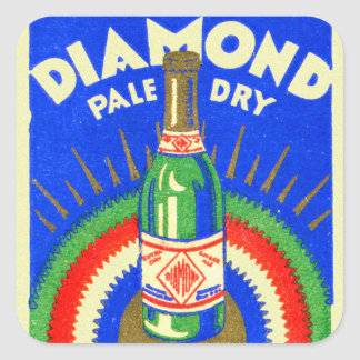 Vintage Matchbook Diamond Pale Dry Ginger Ale Square Sticker