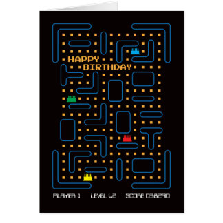 Vintage Maze Computer Game Birthday Card