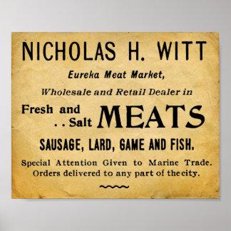Vintage Meat market Butcher Shop Sign