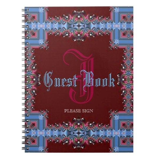 Vintage Mediaeval Red Blue Lacy Monogram Guest Notebook