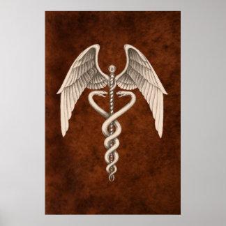 Vintage Medical Caduceus Symbol Business Print